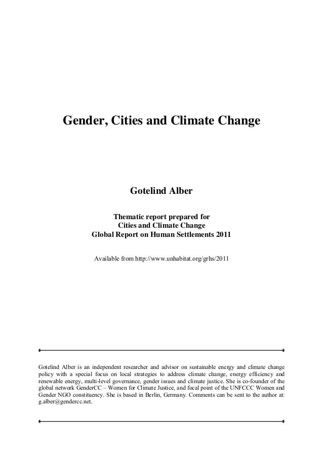 Gender, cities and climate change thematic studygender