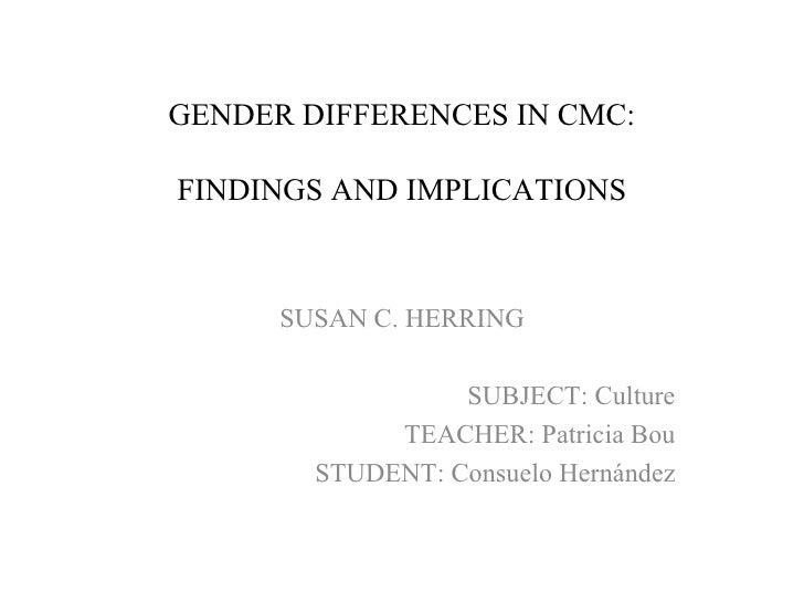 Gender differencesincmc