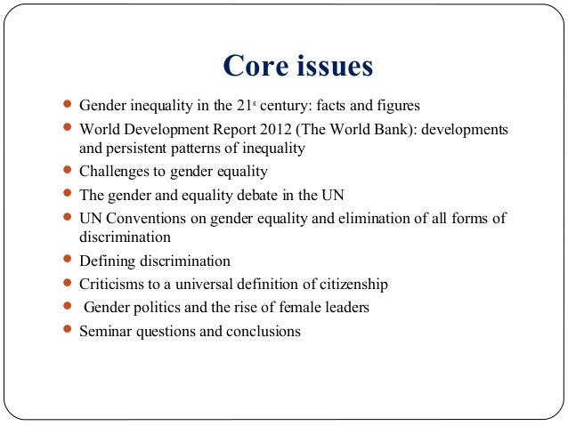 essay questions on gender inequality I need a list of ideas of different gender inequalities i have to write a paper but i don't want to be too generic however, i want to be able to research alot of good information.