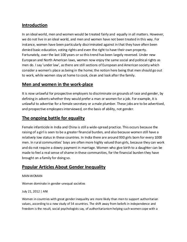 Essay On Gender Inequality - Words | Bartleby