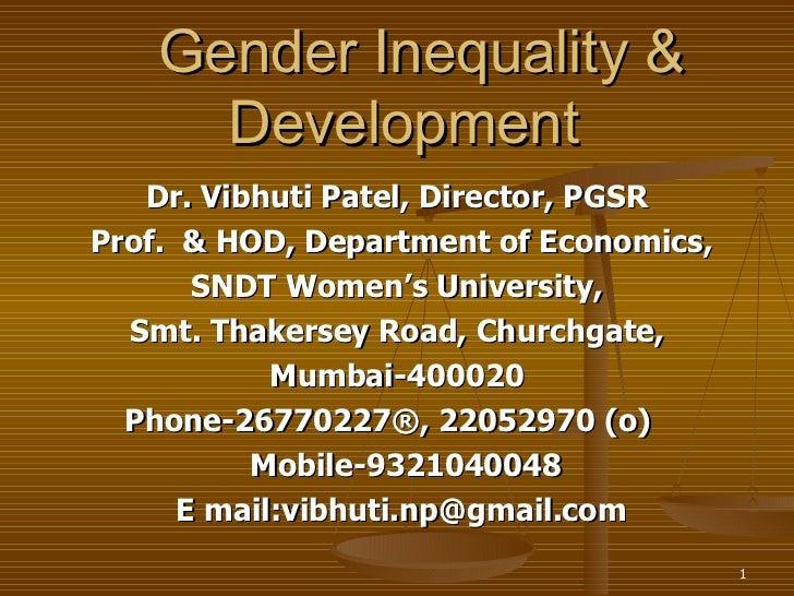 Gender inequality & development