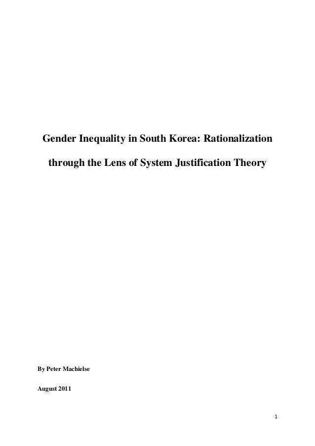Gender inequality in south korea   rationalization through the lens of system justification theory