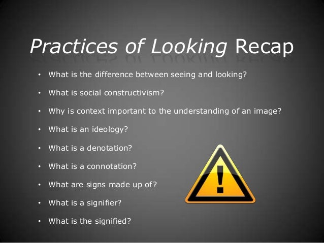 Practices of Looking Recap• What is the difference between seeing and looking?• What is social constructivism?• Why is con...