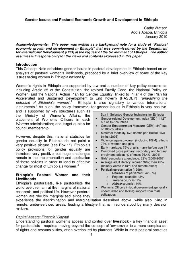 Gender Issues and Pastoral Economic Growth and Development in Ethiopia