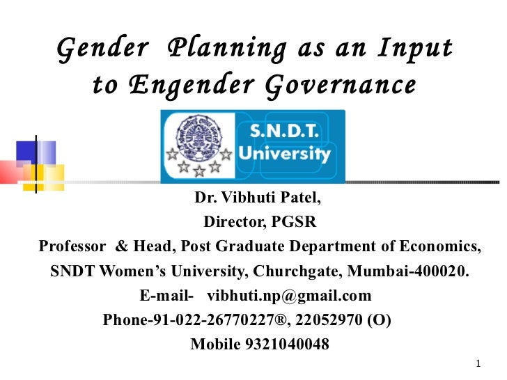 Gender planing as an input to engender governance  coloured 11-2-09