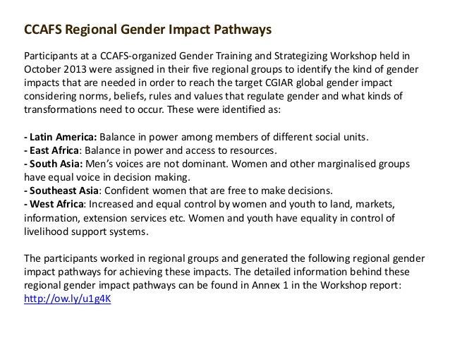 Regional Impact Pathways: Gender