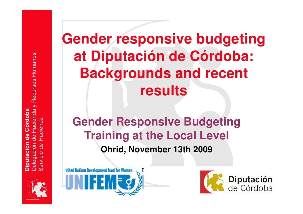 Gender Responsive Budgeting At DiputacióN De CóRdoba Ohrid 20091113 Last Version