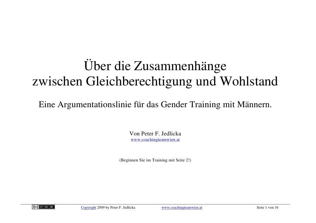 Über die Zusammenhänge zwischen Gleichberechtigung und Wohlstand  Eine Argumentationslinie für das Gender Training mit Män...