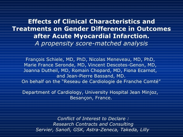 Effects of Clinical Characteristics and Treatments on Gender Difference in Outcomes after Acute Myocardial Infarction. A p...