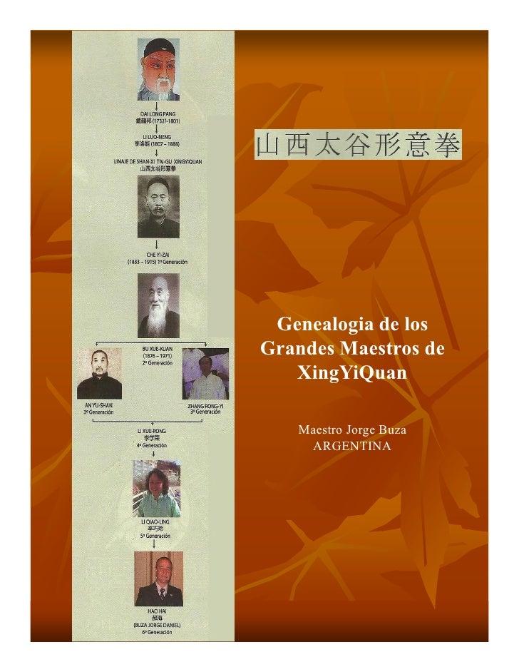 Genealogia de losGrandes Maestros de   XingYiQuan   Maestro Jorge Buza    ARGENTINA