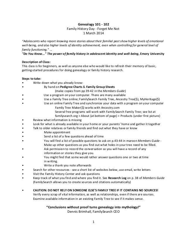 Genealogy 101 102 outline