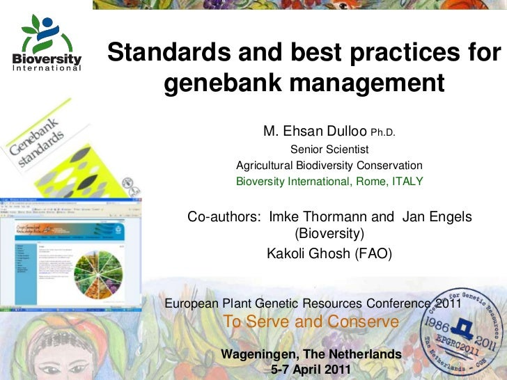 Standards and best practices for genebank management