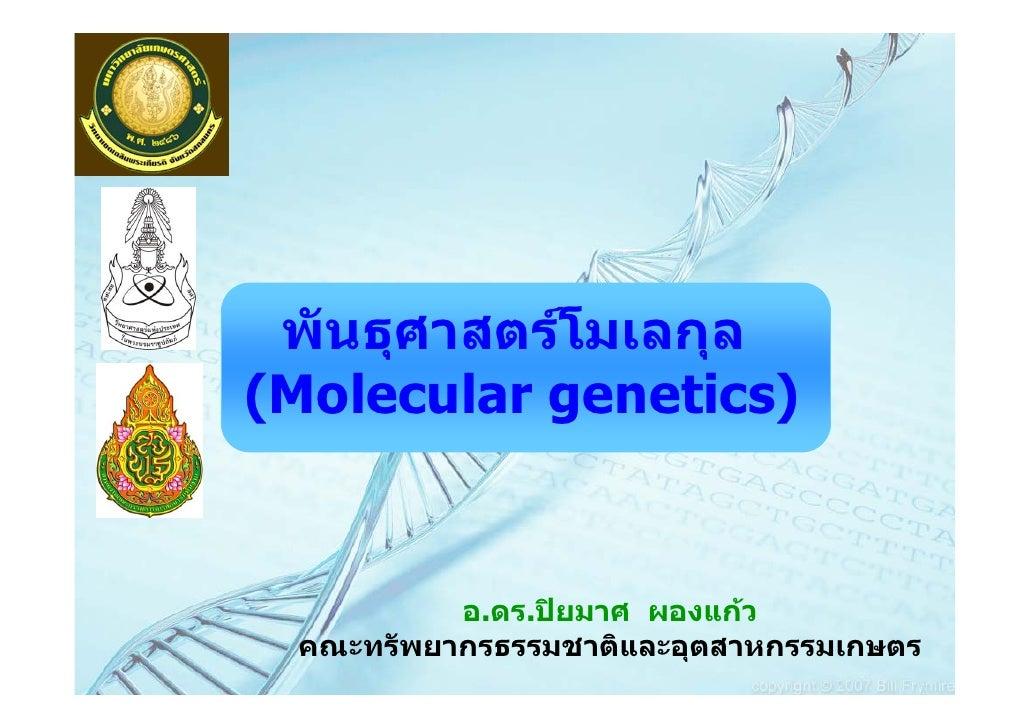 พันธุศาสตรโมเลกุล(Molecular genetics)          อ.ดร.ปยมาศ ผองแกว คณะทรัพยากรธรรมชาติและอุตสาหกรรมเกษตร