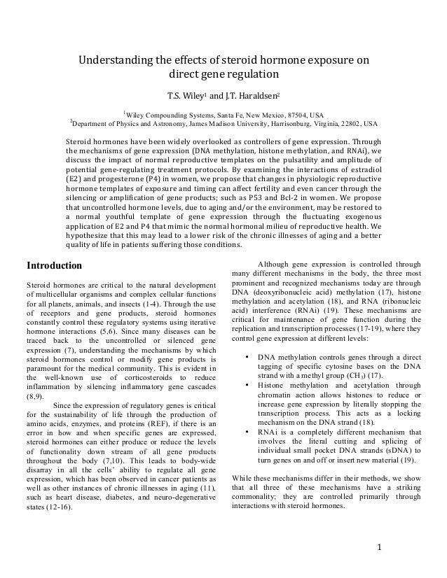 1   Understanding  the  effects  of  steroid  hormone  exposure  on   direct  gene  regulation  ...