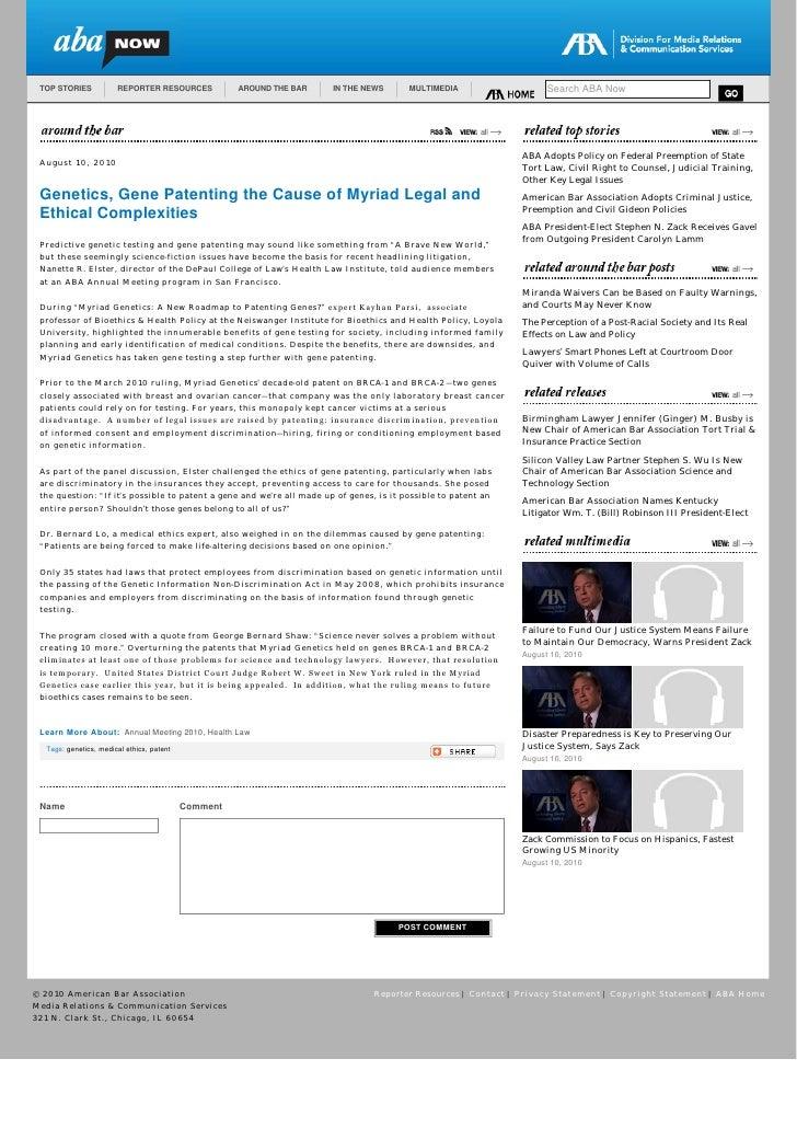 Gene Patenting Story