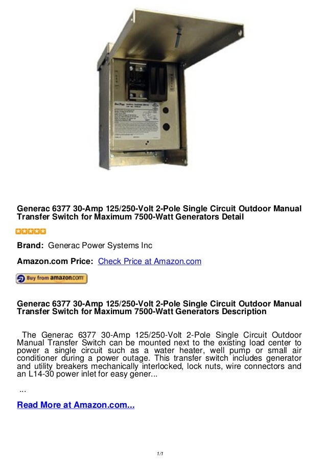 Generac 6377 30-Amp 125/250-Volt 2-Pole Single Circuit OutdoorManual Transfer Switch for Maximum 7500-Watt Generators Deta...