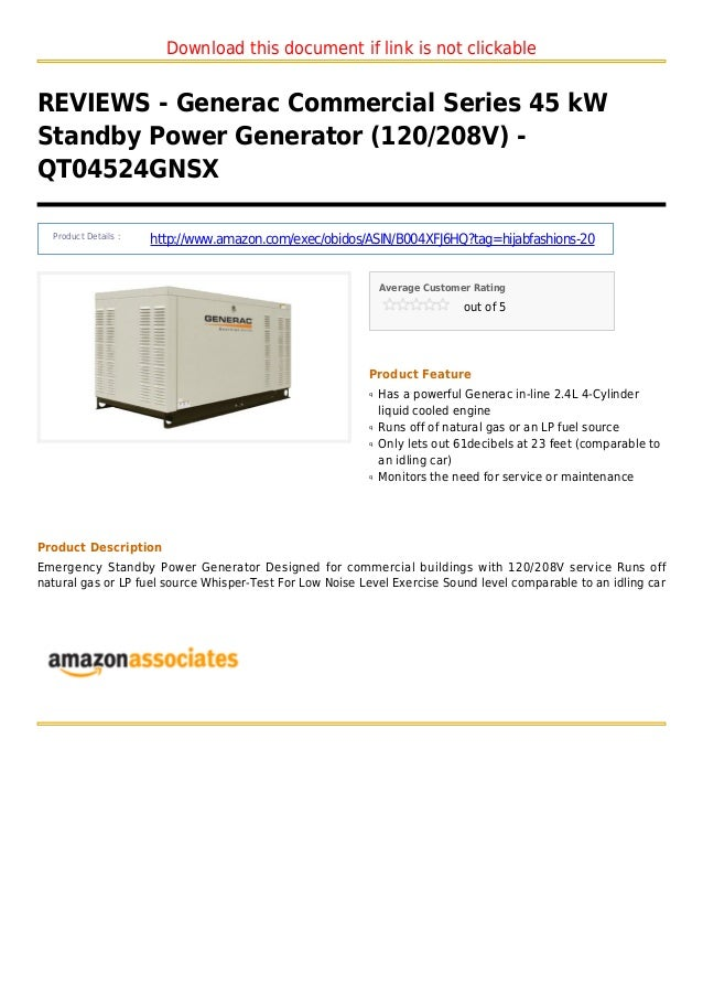 Download this document if link is not clickableREVIEWS - Generac Commercial Series 45 kWStandby Power Generator (120/208V)...