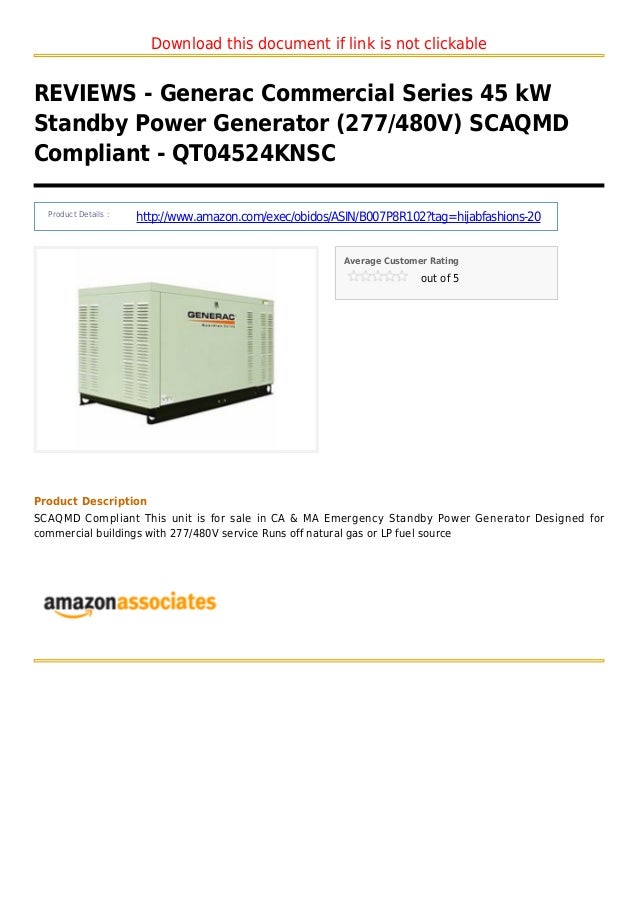 Generac commercial series 45 k w standby power generator 277 480v scaqmd compliant   qt04524knsc