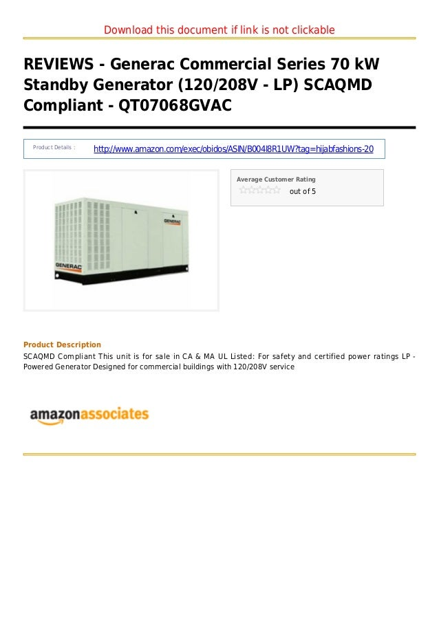 Download this document if link is not clickableREVIEWS - Generac Commercial Series 70 kWStandby Generator (120/208V - LP) ...