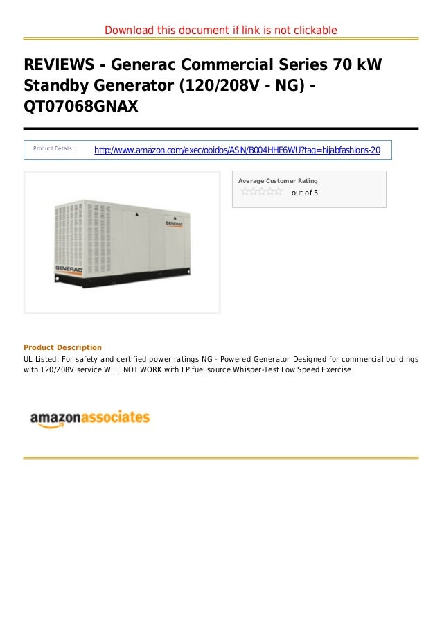 Download this document if link is not clickableREVIEWS - Generac Commercial Series 70 kWStandby Generator (120/208V - NG) ...