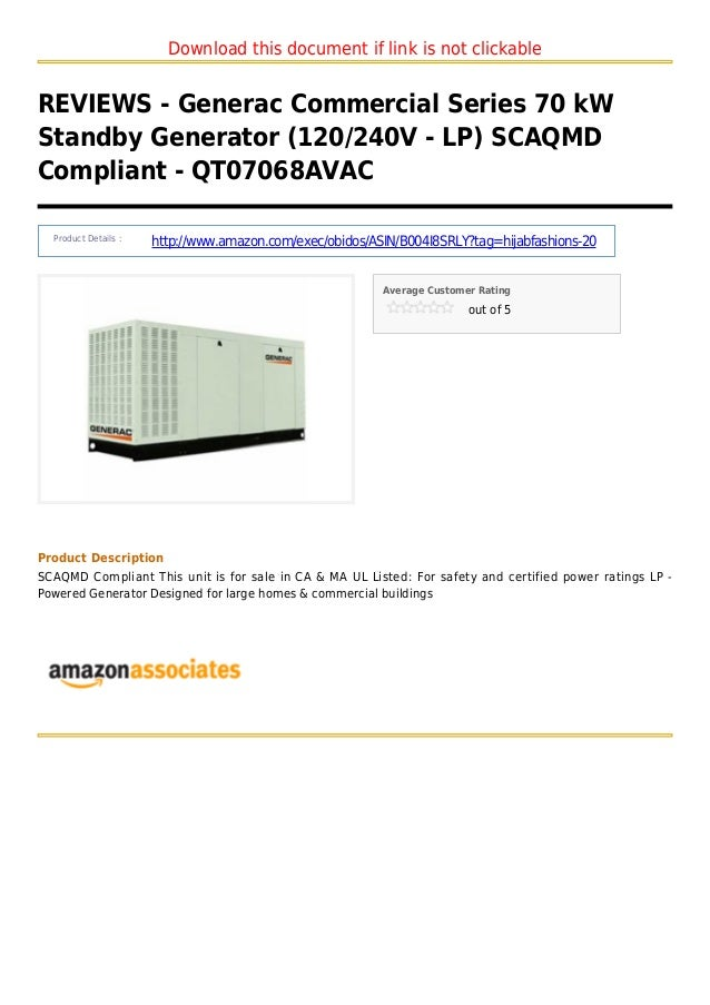 Download this document if link is not clickableREVIEWS - Generac Commercial Series 70 kWStandby Generator (120/240V - LP) ...