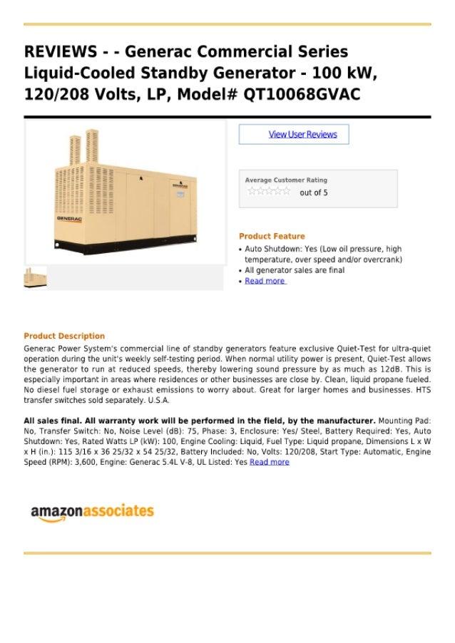 Generac commercial series liquid-cooled standby generator - 100 k w, 120 208 volts, lp, model# qt10068gvac