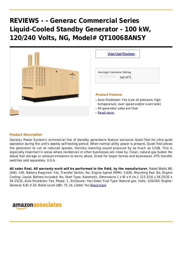 Generac commercial series liquid-cooled standby generator - 100 k w, 120 240 volts, ng, model# qt10068ansy