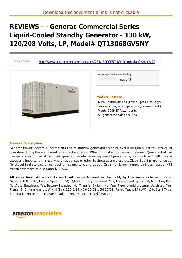Generac commercial series liquid-cooled standby generator - 130 k w 120 208 volts lp model qt13068gvsny