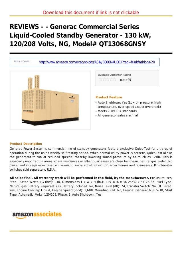 Generac commercial series liquid-cooled standby generator - 130 k w 120 208 volts ng model qt13068gnsy