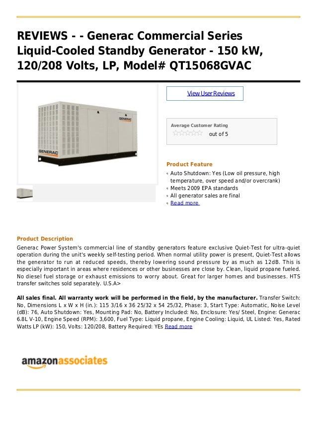 Generac commercial series liquid-cooled standby generator - 150 k w, 120 208 volts, lp, model# qt15068gvac