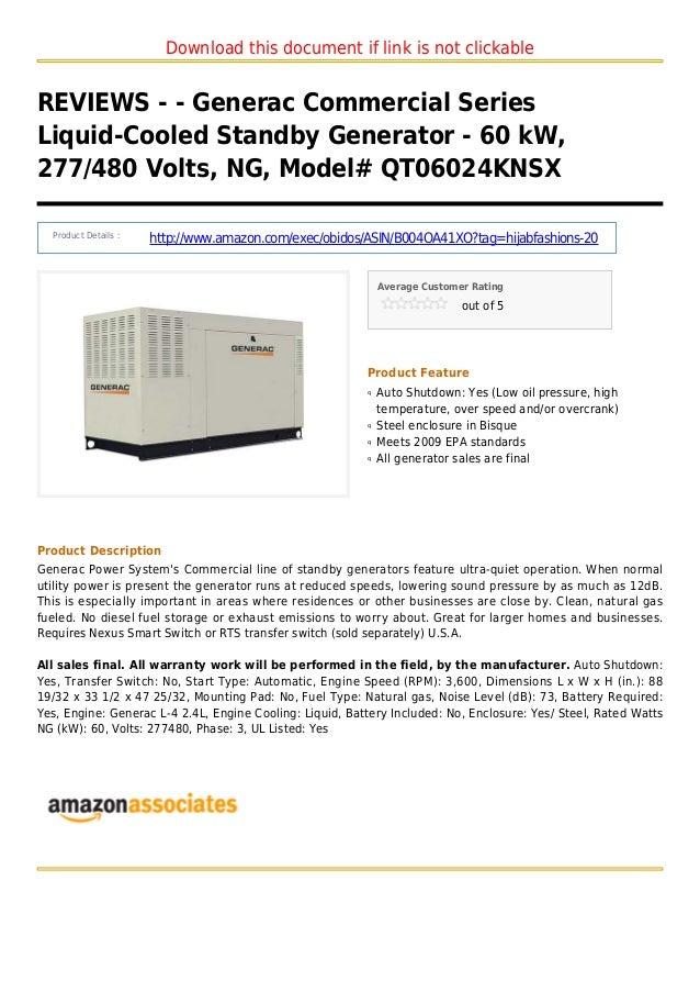 Generac commercial series liquid-cooled standby generator - 60 k w 277 480 volts ng model qt06024knsx