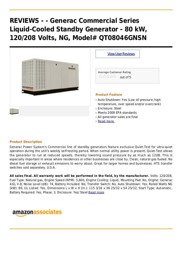 Generac commercial series liquid-cooled standby generator - 80 k w, 120 208 volts, ng, model# qt08046gnsn
