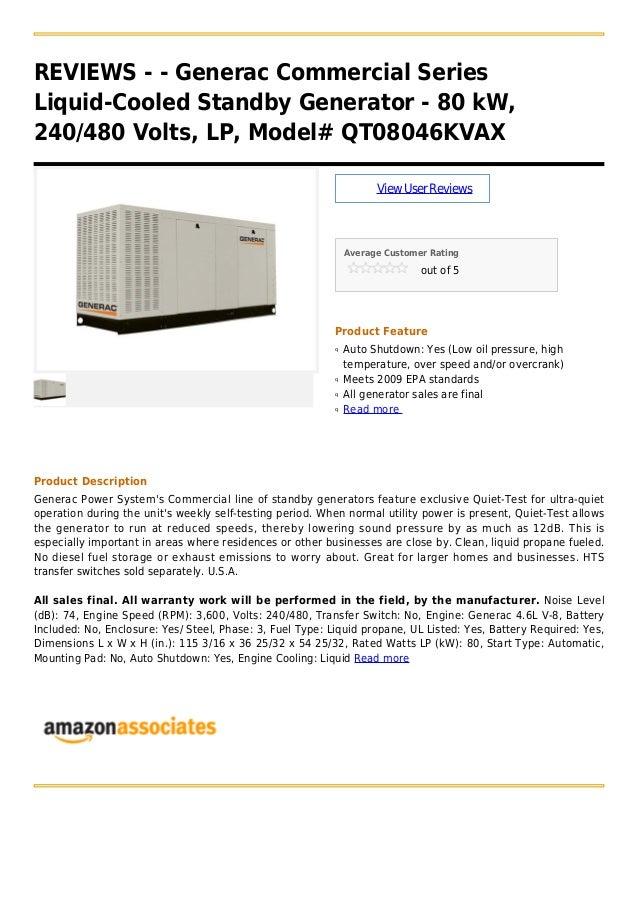 Generac commercial series liquid-cooled standby generator - 80 k w, 240 480 volts, lp, model# qt08046kvax