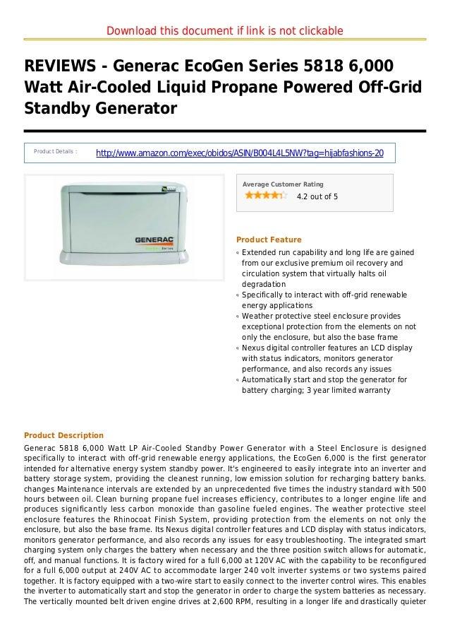 Generac eco gen series 5818 6000 watt air cooled liquid propane powered off-grid standby generator