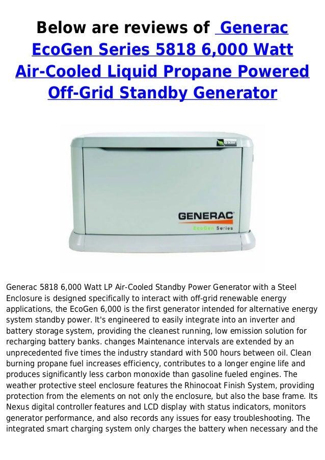 Generac eco gen series 5818 6000 watt air cooled liquid propane powered off-grid standby generator special discount