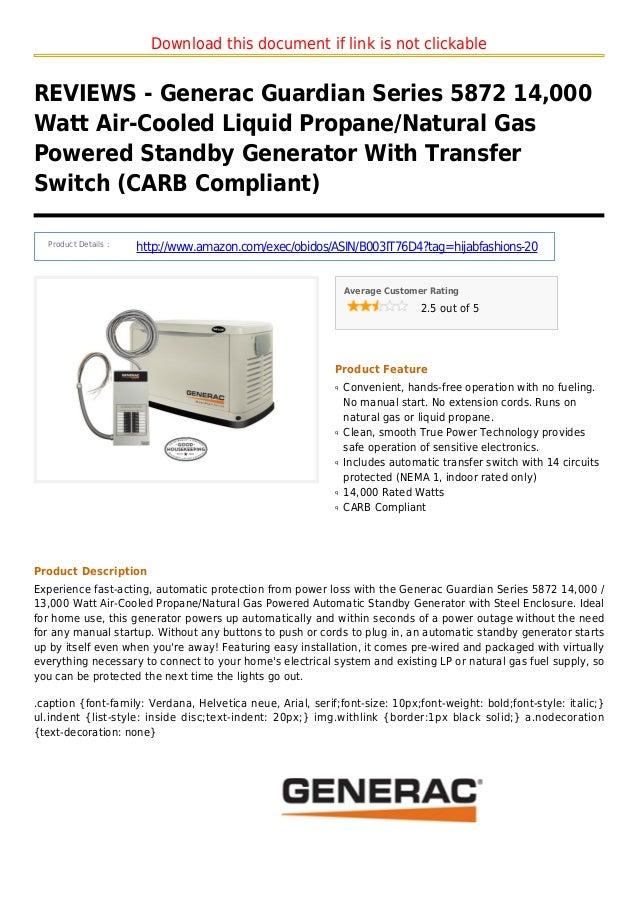 Generac guardian series 5872 14000 watt air cooled liquid propane natural gas powered standby generator