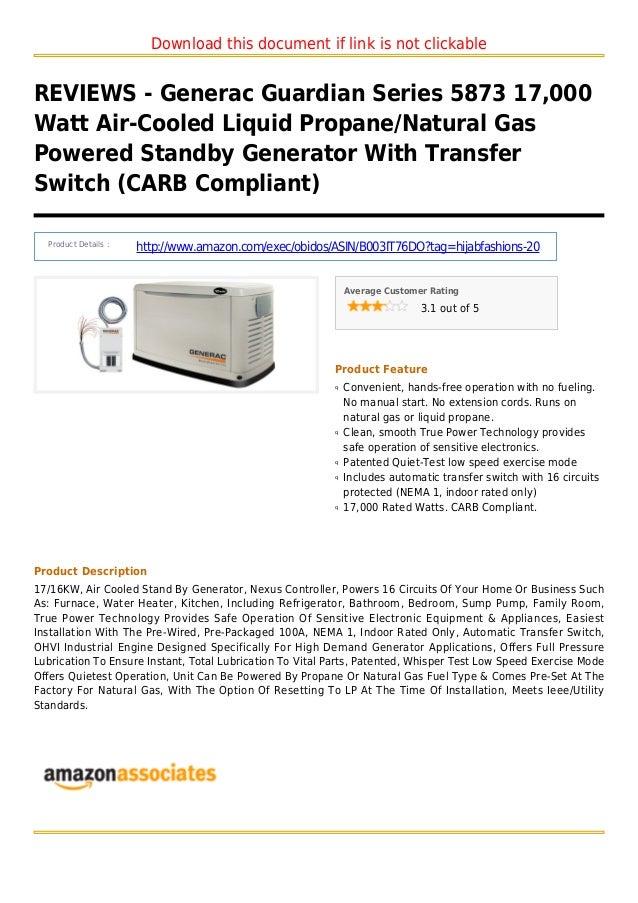 Generac guardian series 5873 17000 watt air cooled liquid propane natural gas powered standby generator