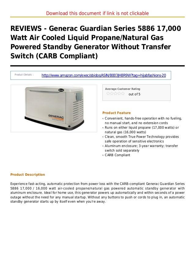 Generac guardian series 5886 17000 watt air cooled liquid propane natural gas powered standby generator