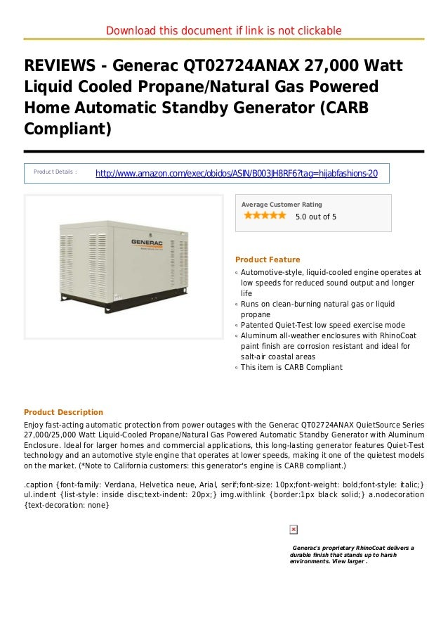 Generac qt02724 anax 27000 watt liquid cooled propane natural gas powered home automatic standby generator