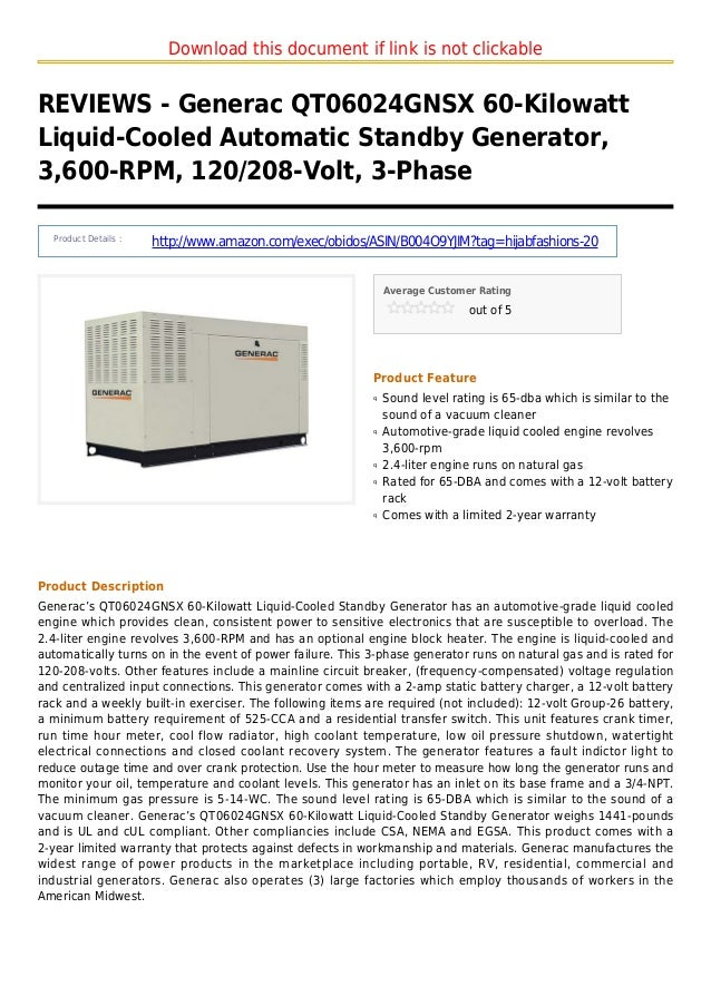 Download this document if link is not clickableREVIEWS - Generac QT06024GNSX 60-KilowattLiquid-Cooled Automatic Standby Ge...