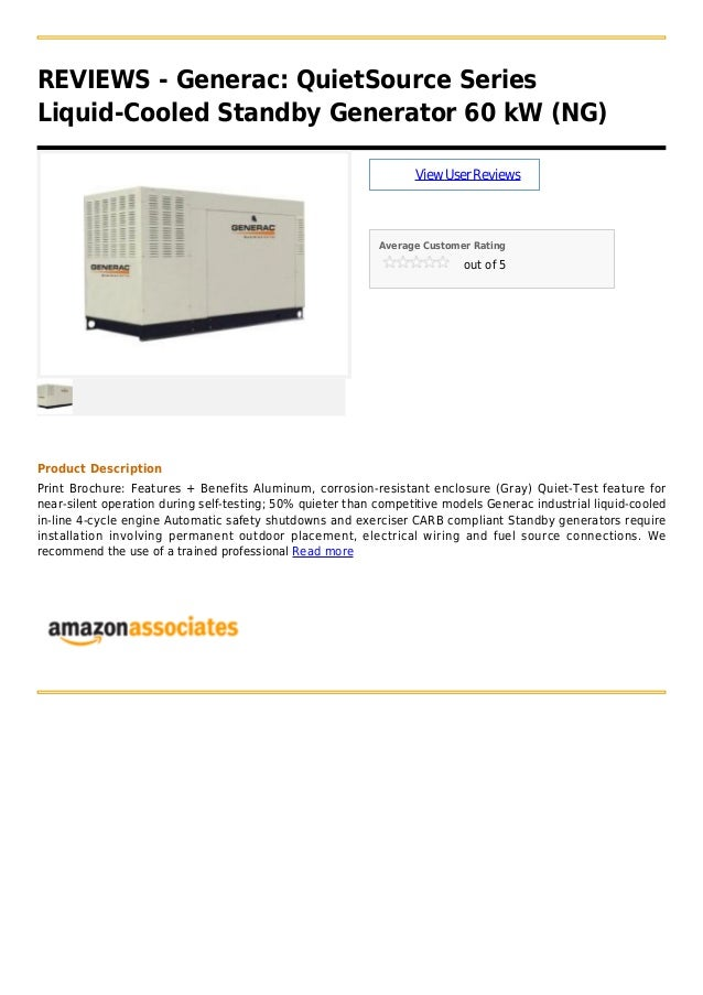Generac  quiet source series liquid cooled standby generator 60 kw (ng)