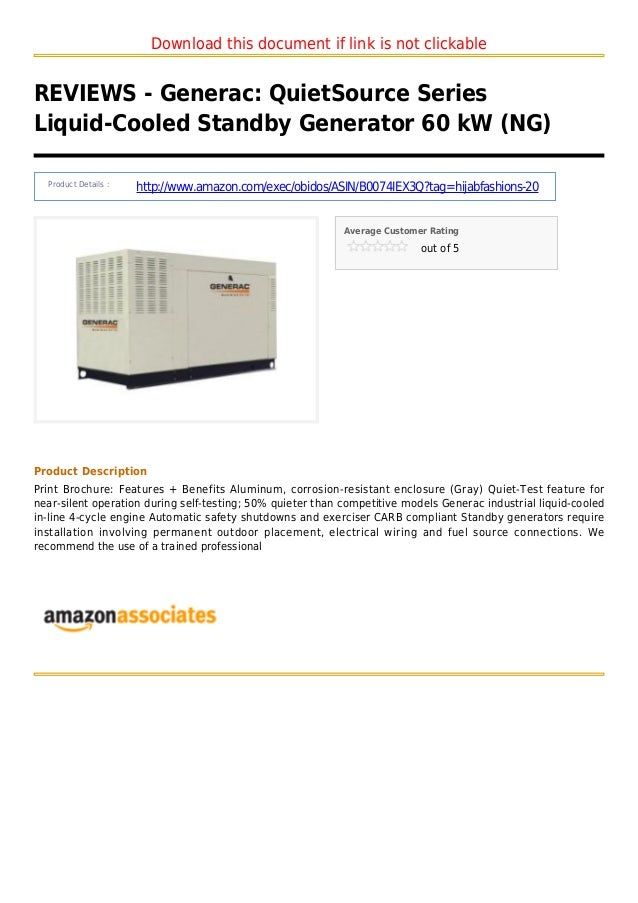 Generac  quiet source series liquid cooled standby generator 60 kw ng