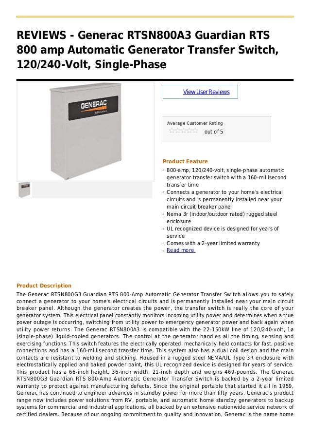 REVIEWS - Generac RTSN800A3 Guardian RTS800 amp Automatic Generator Transfer Switch,120/240-Volt, Single-PhaseViewUserRevi...