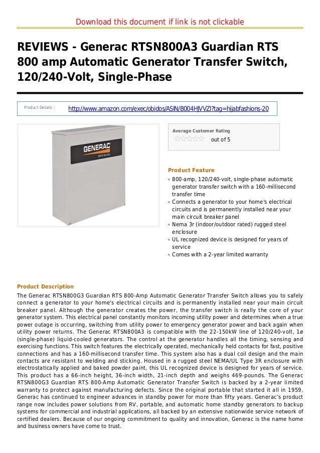 Generac rtsn800 a3 guardian rts 800 amp automatic generator transfer switch 120 240 volt single-phase