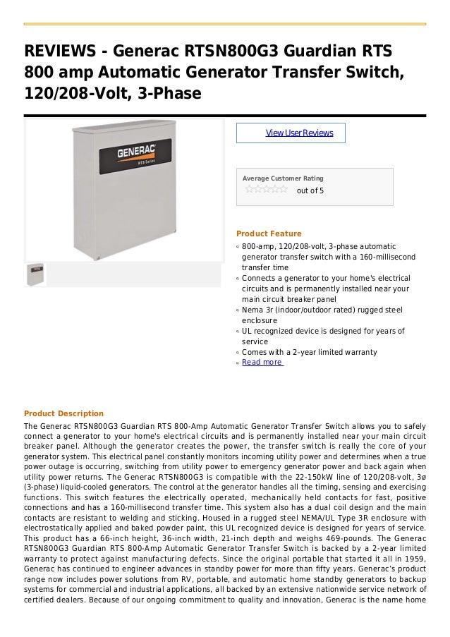 Generac rtsn800 g3 guardian rts 800 amp automatic generator transfer switch, 120 208 volt, 3-phase