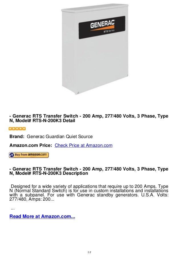 - Generac RTS Transfer Switch - 200 Amp, 277/480 Volts, 3 Phase, TypeN, Model# RTS-N-200K3 Detail- Generac RTS Transfer Sw...