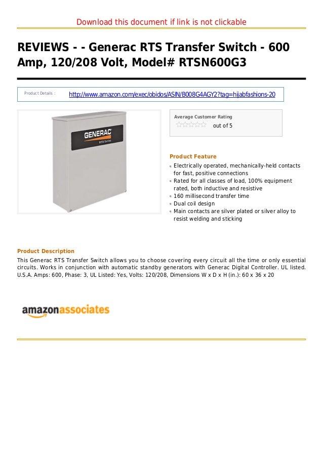 Generac rts transfer switch - 600 amp 120 208 volt model rtsn600 g3