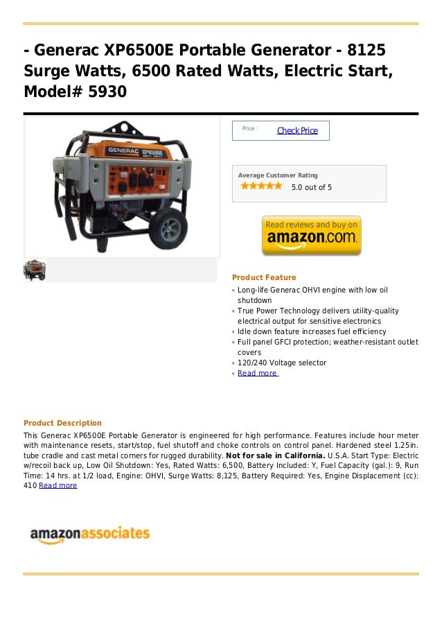 Generac xp6500 e portable generator - 8125 surge watts, 6500 rated watts, electric start, model# 5930