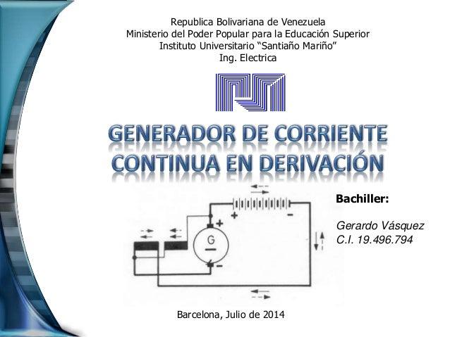 Generador de corriente continua en derivaci n - Generador de corriente ...