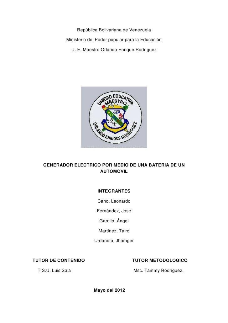 República Bolivariana de Venezuela              Ministerio del Poder popular para la Educación                    U. E. Ma...